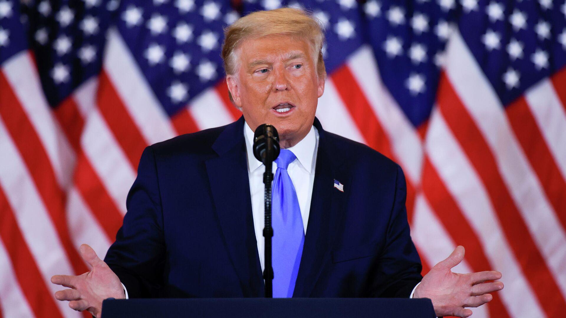 Президент США Дональд Трамп говорит о досрочных результатах президентских выборов 2020 года - РИА Новости, 1920, 14.11.2020