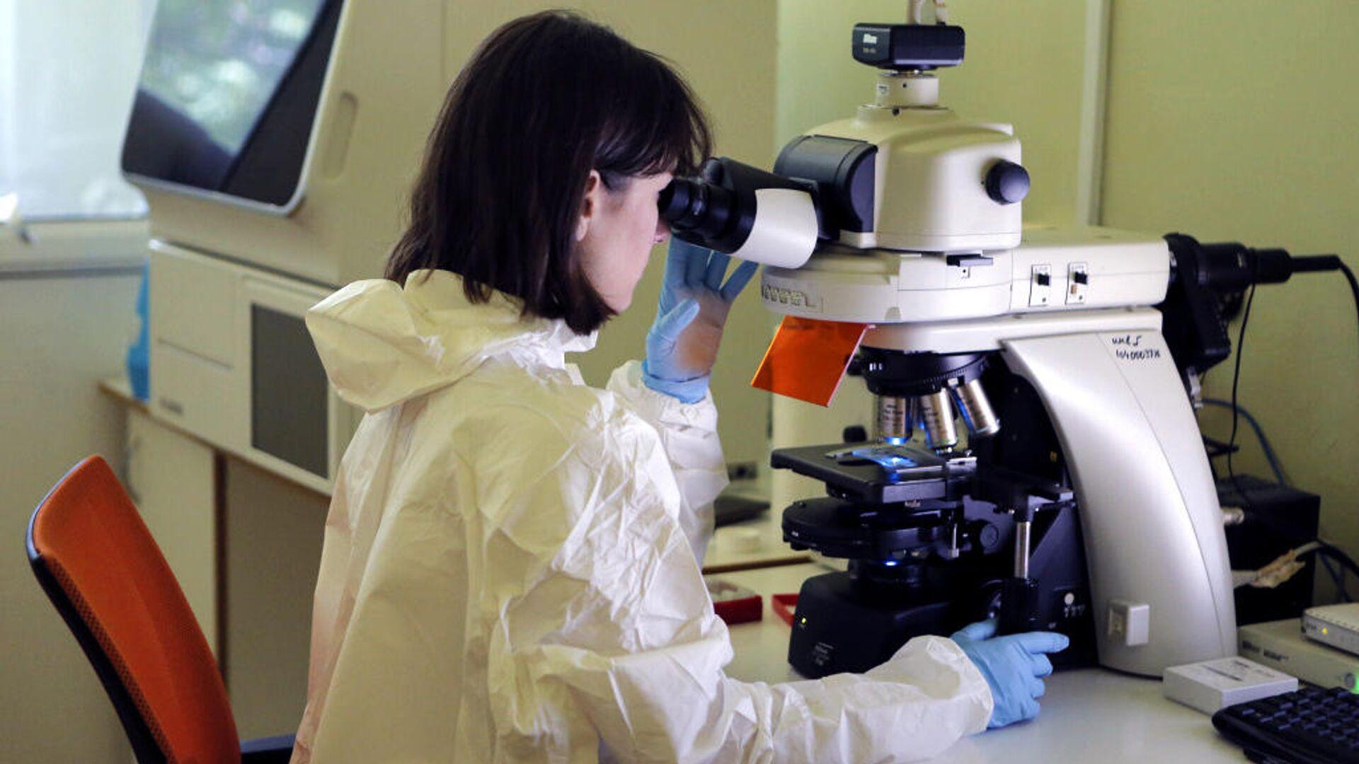 Сотрудник Национального исследовательского центра им. Гамалеи в лаборатории - РИА Новости, 1920, 21.11.2020
