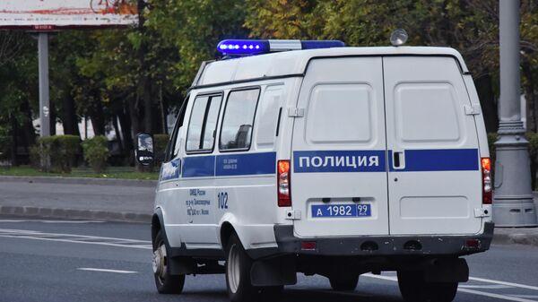 Автомобиль полиции едет по дороге