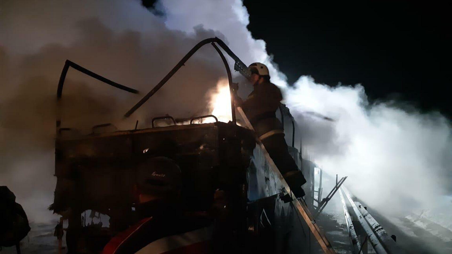 В Ростовской области загорелся автобус Владикавказ-Москва