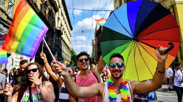 Представители ЛГБТ сообщества во время парада в Будапеште