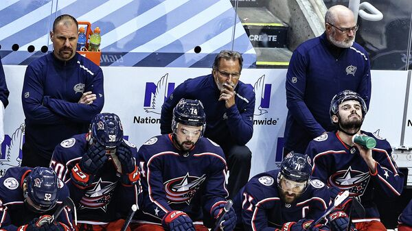 TORONTO, ONTARIO - AUGUST 15: Head coach John Tortorella of the Columbus Blue Jackets looks on against the Tampa Bay Lightning prior to Game Three of the Eastern Conference First Round during the 2020 NHL Stanley Cup Playoffs at Scotiabank Arena on August 15, 2020 in Toronto, Ontario.   Elsa/Getty Images/AFP