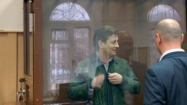 Бывший губернатор Хабаровского края Сергей Фургал, обвиняемый в организации убийств, в зале заседаний Басманного суда города Москвы, где будет рассматриваться ходатайство о продлении ему срока ареста