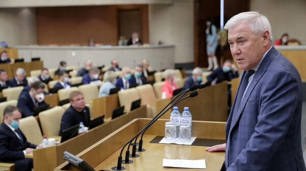 Председатель Комитета по финансовому рынку Государственной Думы Российской Федерации Анатолий Аксаков на пленарном заседании Государственной Думы РФ