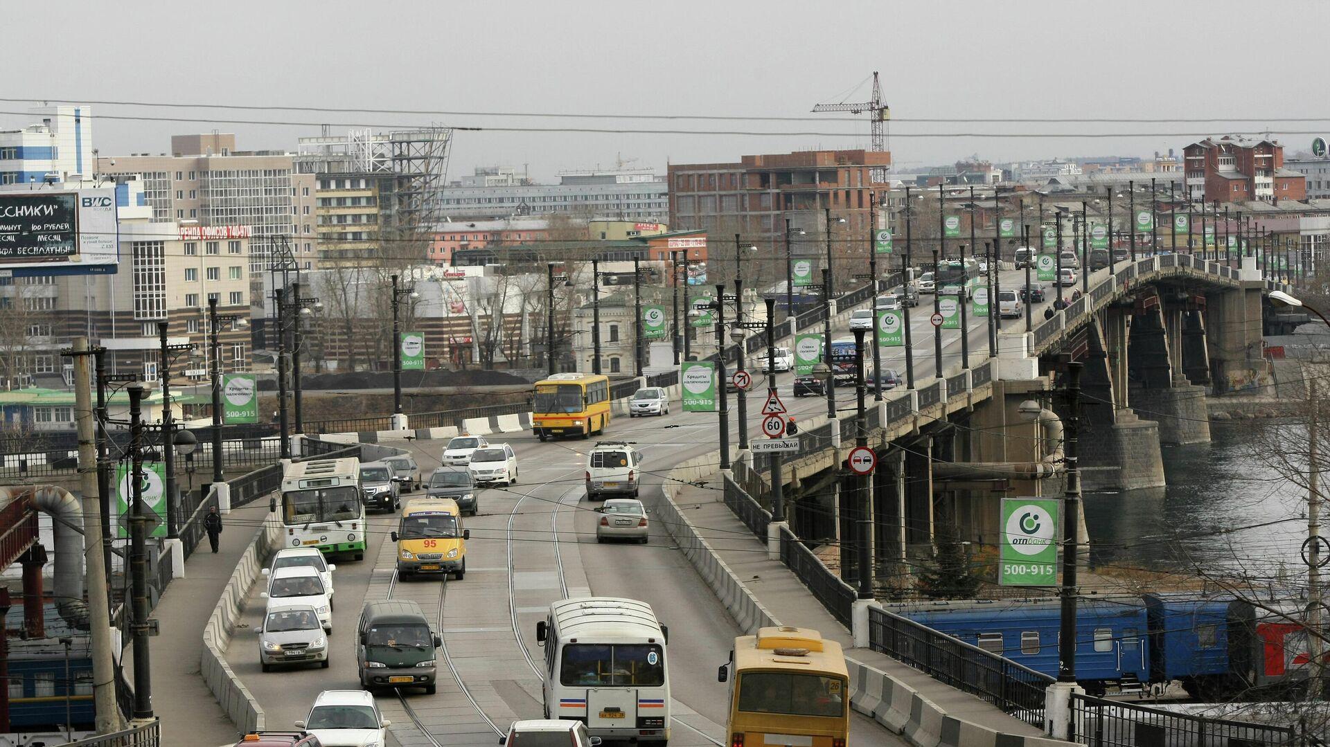 Автомобильный мост через реку Ангара в Иркутске - РИА Новости, 1920, 26.01.2021