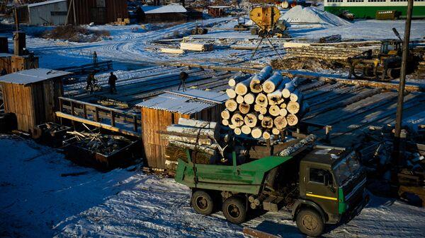 Погрузочная площадка предприятия заготовки и глубокой переработки древесины Тура-Лес в Верхней Туре