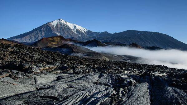 Вулканы Острый  и Плоский Толбачик и лавовое поле перед ними