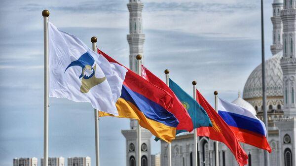 Флаги России, Киргизии, Казахстана, Белоруссии, Армении, а также с символикой Евразийского экономического союза (ЕАЭС)
