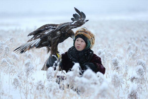 Участник соколиной охоты в Казахстане