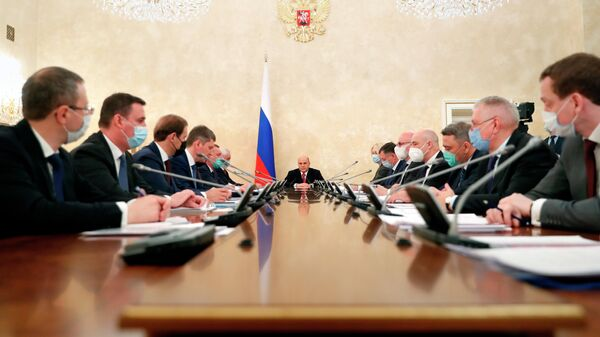 Председатель правительства РФ Михаил Мишустин проводит оперативное совещание с членами кабинета министров