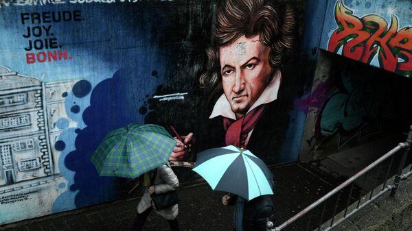 Граффити с изображением Людвига ван Бетховена в Бонне, Германия