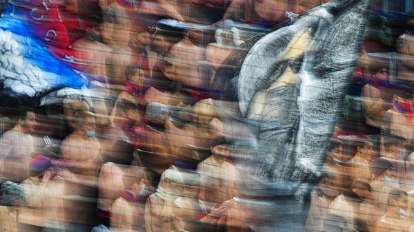 Болельщики ПФК ЦСКА во время матча 18-го тура чемпионата России по футболу