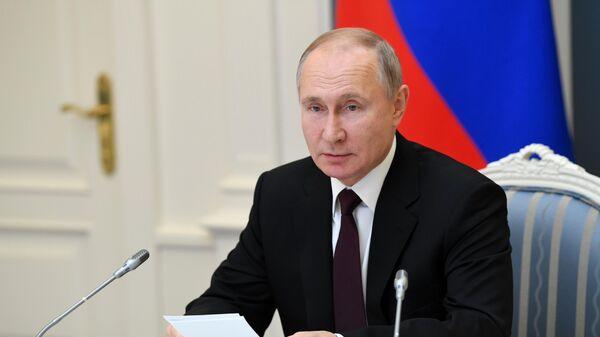 Президент РФ Владимир Путин проводит видеоконференцию о сотрудничестве в области профилактики коронавирусной инфекции
