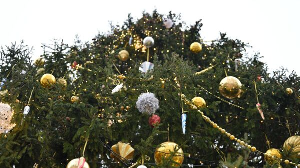 Украшенная новогодняя елка на Соборной площади Московского Кремля