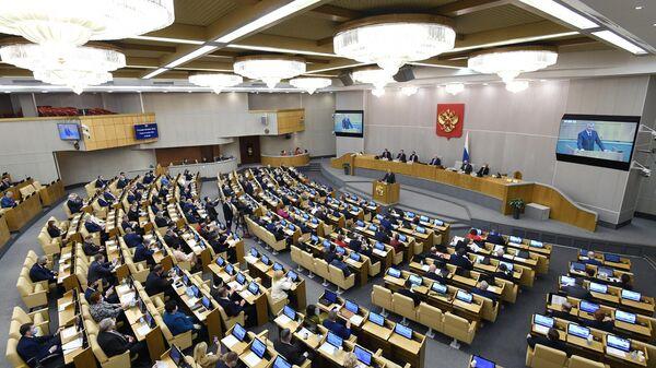 Председатель Государственной Думы РФ Вячеслав Володин выступает на заключительном пленарном заседании осенней сессии Государственной Думы РФ