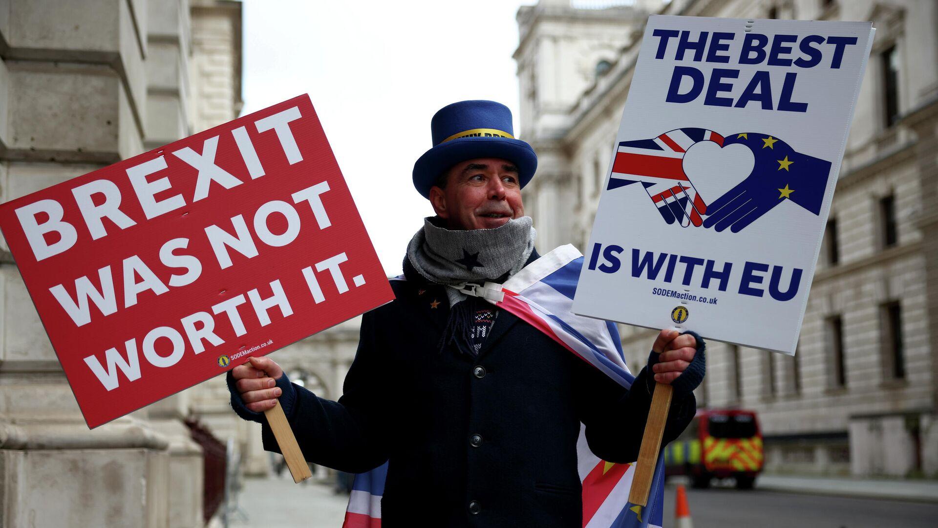 Участник акции протеста против Brexit перед Министерством иностранных дел в Лондоне - РИА Новости, 1920, 24.12.2020