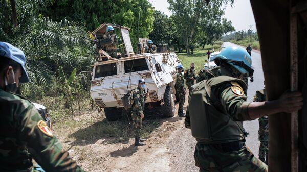 Миротворцы многопрофильной комплексной миссии ООН по стабилизации в ЦАР  на окраине Банги, столицы Центральноафриканской Республики
