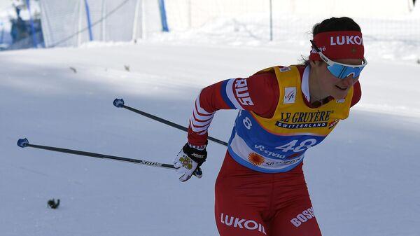 Юлия Белорукова (Ступак) на дистанции индивидуальной гонки на 10 км классическим стилем с раздельным стартом в  соревнованиях по лыжным гонкам среди женщин на чемпионате мира-2019 по лыжным видам спорта в австрийском Зеефельде.