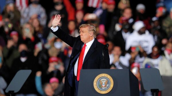 Президент США Дональд Трамп во время выступления перед своими сторонниками в Джорджии