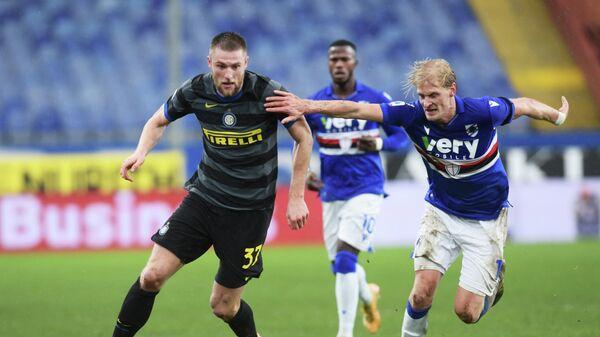 Игровой момент матча чемпионата Италии Интер - Сампдория