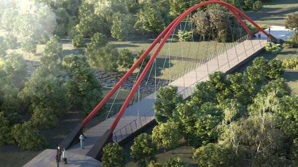 Проект пешеходного моста через Яузув Москве