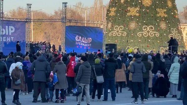 Выборы в Киргизии: акция в поддержку Садыра Жапарова