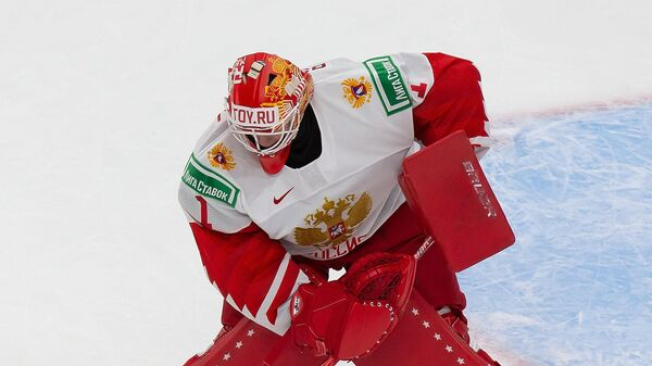 EDMONTON, AB - JANUARY 05: Goaltender Yaroslav Askarov #1 of Russia makes a save against Finland during the 2021 IIHF World Junior Championship bronze medal game at Rogers Place on January 5, 2021 in Edmonton, Canada.   Codie McLachlan/Getty Images/AFP