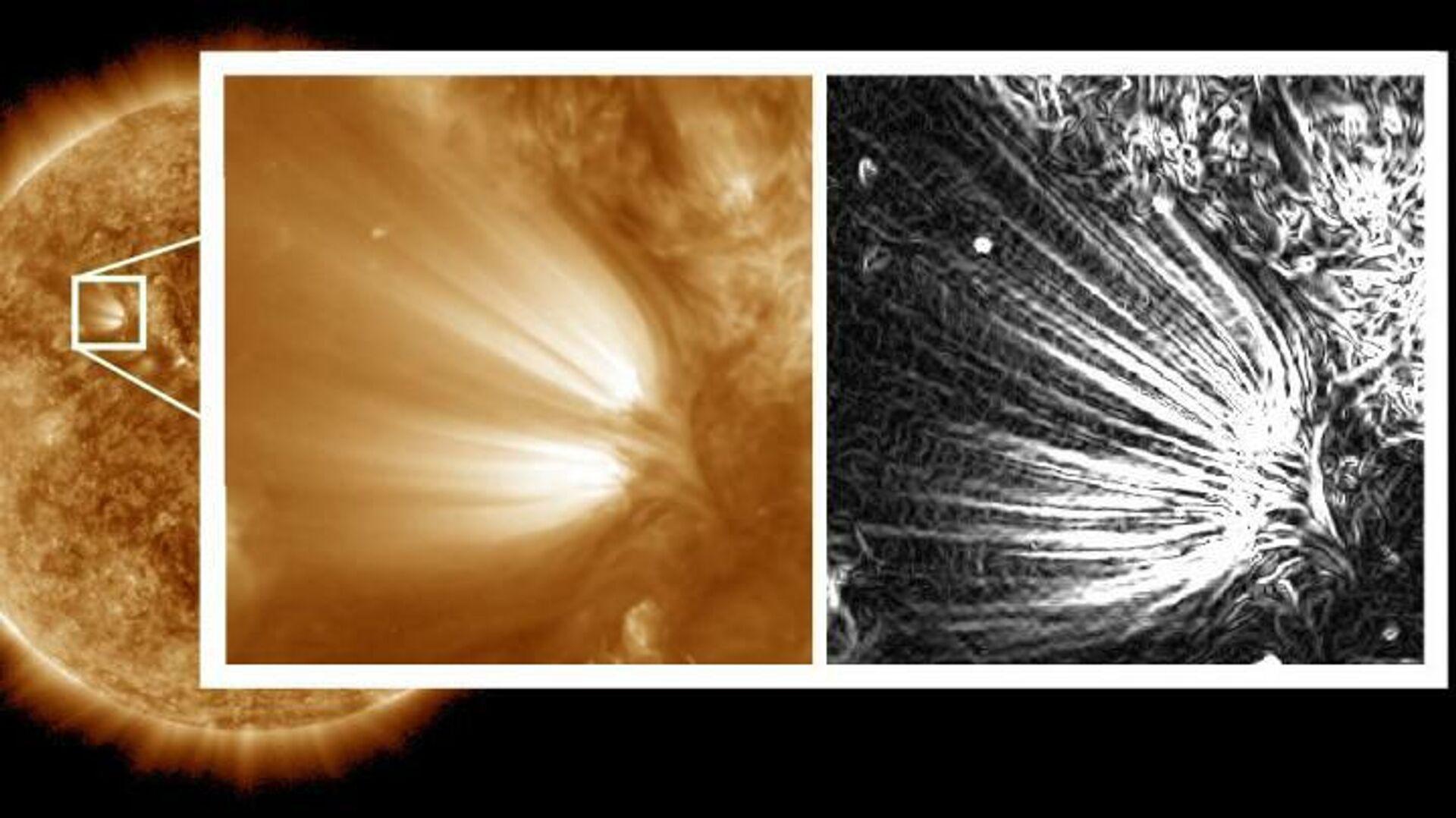 Внутренняя структура солнечных шлейфов, состоящих из нитевидных перьев - РИА Новости, 1920, 20.01.2021