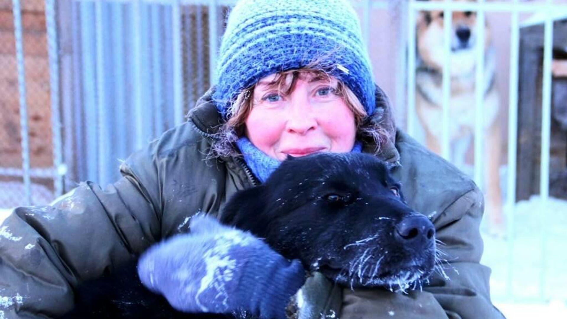 Волонтер приюта для животных на Чукотке Марина и собака Берта - РИА Новости, 1920, 21.01.2021