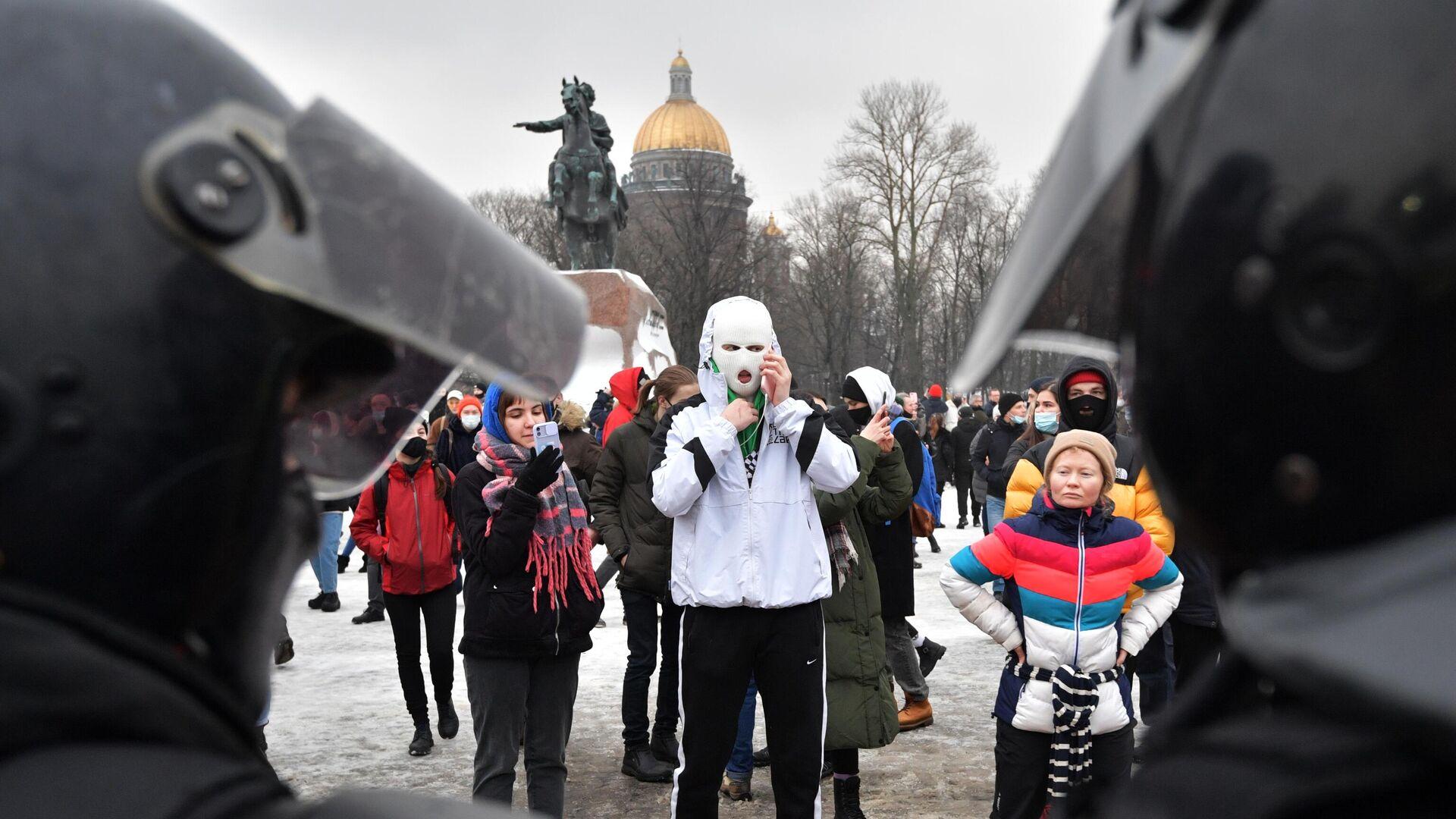 Участники несанкционированной акции сторонников Алексея Навального в Санкт-Петербурге - РИА Новости, 1920, 26.01.2021