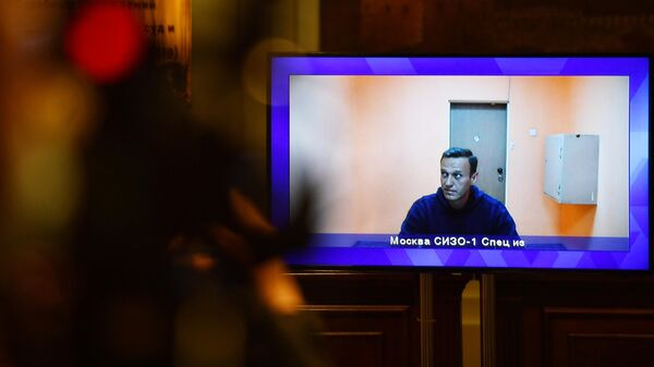 Алексей Навальный, находящийся в СИЗО-1 Москвы, на экране монитора во время заседания Московского областного суда