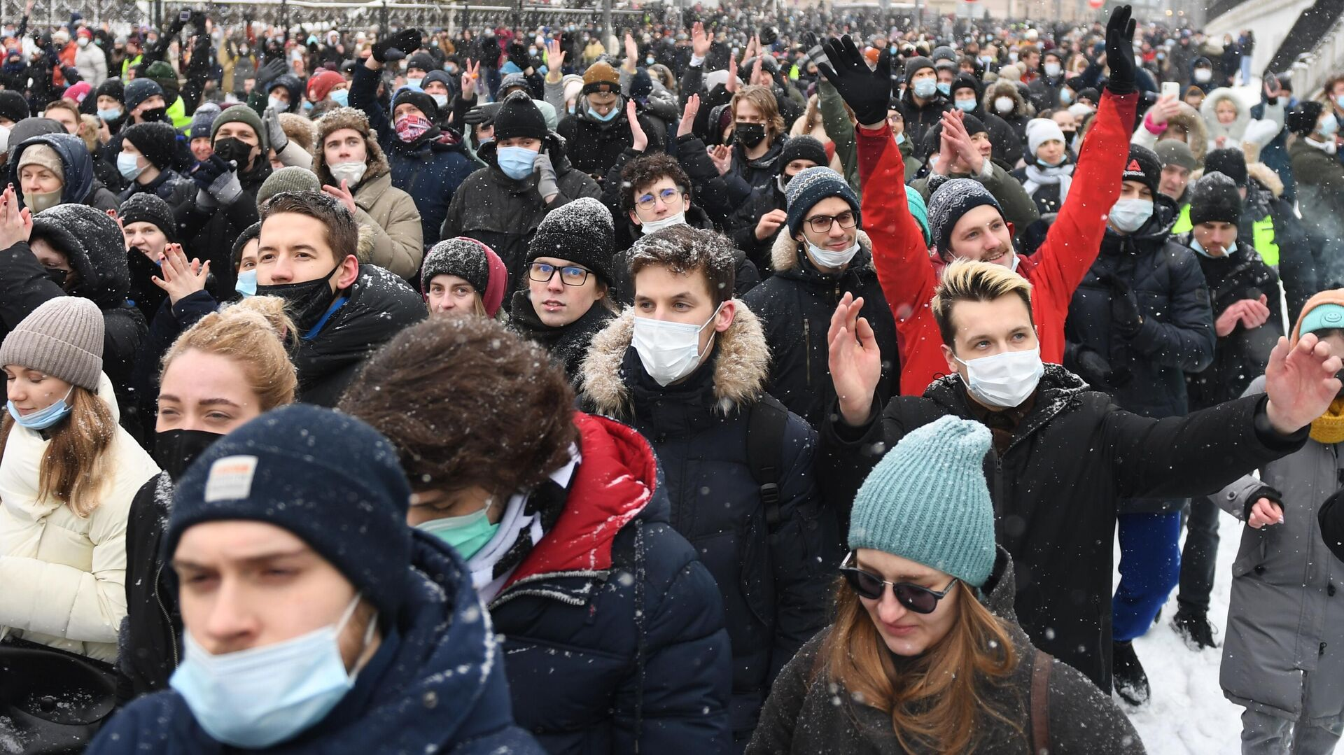 Участники несанкционированной акции сторонников Алексея Навального в Москве - РИА Новости, 1920, 31.01.2021