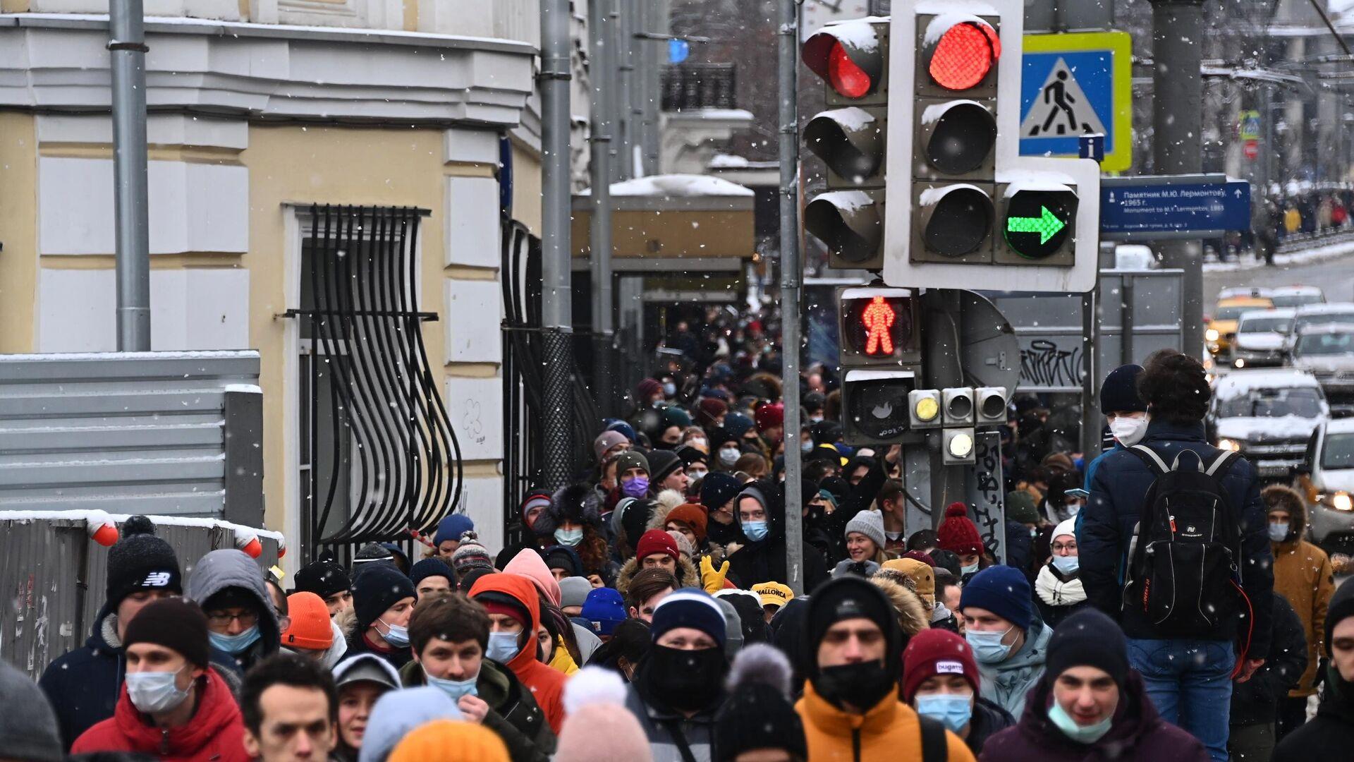 Участники несанкционированной акции сторонников Алексея Навального в Москве - РИА Новости, 1920, 27.04.2021