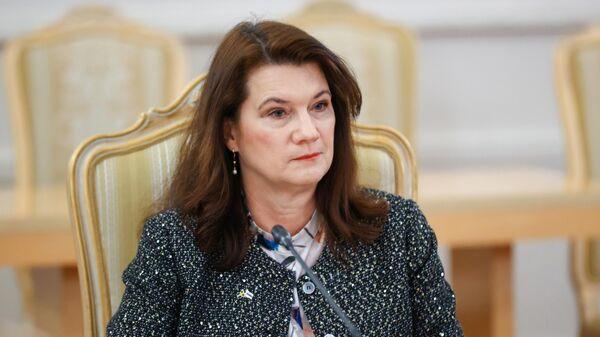 Министр иностранных дел Швеции Анн Линде во время встречи с министром иностранных дел РФ Сергеем Лавровым в Москве