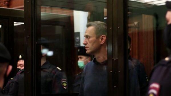 Оглашение приговора Алексею Навальному в Московском городском суде. Кадр видео