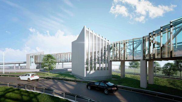 Проект надземного перехода вдоль съезда с Новоегорьевского шоссе в Москве