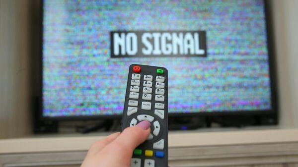 Экран телевизора с изображением эфирного шума