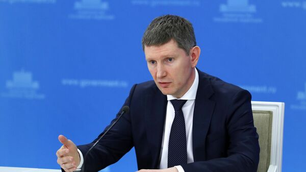 Министр экономического развития РФ Максим Решетников во время брифинга в Доме правительства РФ