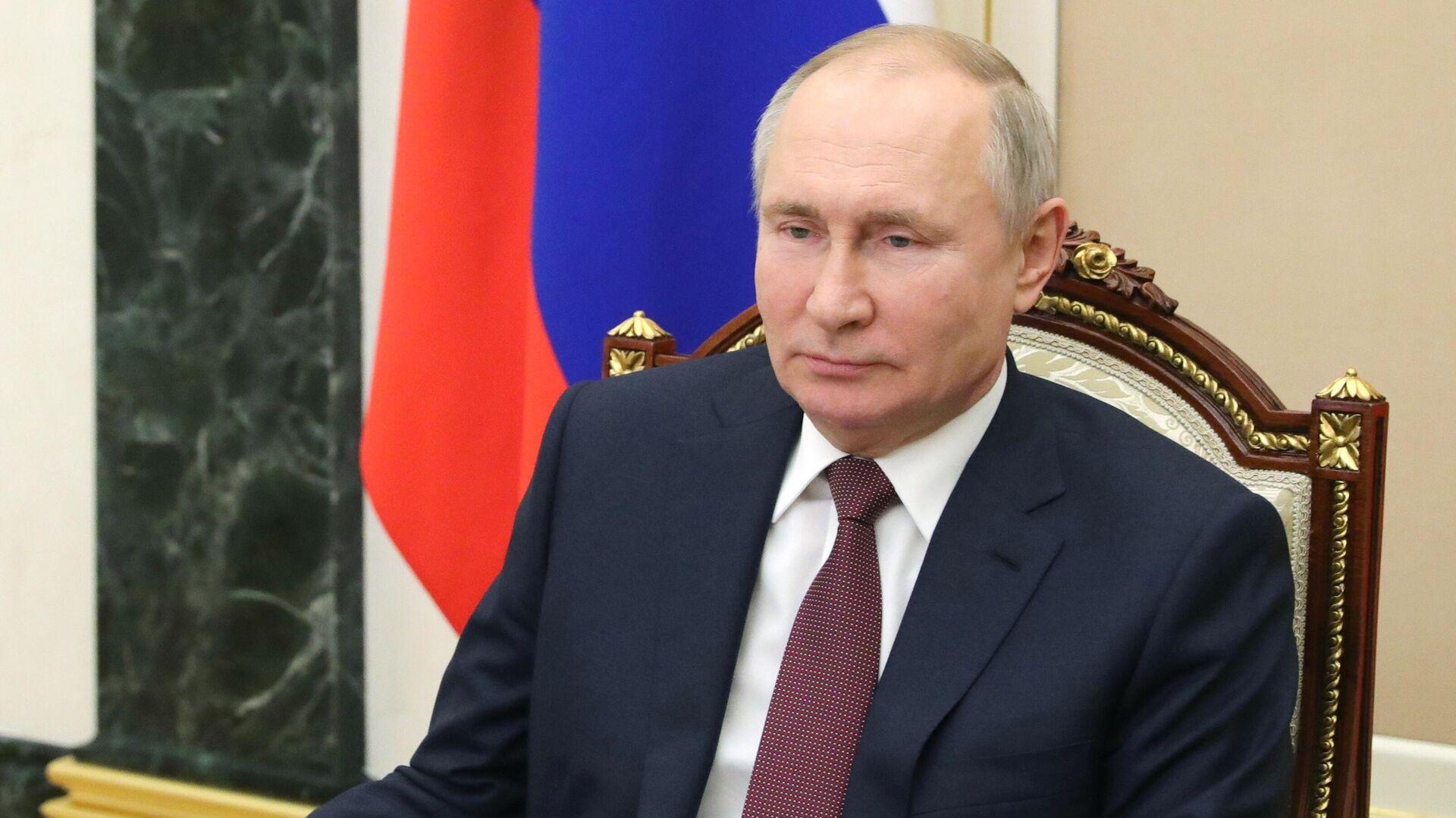 Президент РФ Владимир Путин проводит в режиме видеоконференции оперативное совещание с постоянными членами Совета безопасности РФ - РИА Новости, 1920, 11.02.2021