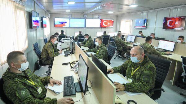 Российско-турецкий центр контроля за соблюдением перемирия в Карабахе, расположенный в селе Гиямеддинли в Агдамском районе