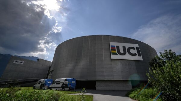 This photo taken on August 10, 2020, shows the headquarters of the world's cycling governing body UCI (International Cycling Union) in Aigle, amid the COVID-19 outbreak, caused by the novel coronavirus. - The cycling world championships scheduled for Aigle-Martigny in Switzerland on September 20-27, 2020, might be called off due to local health rules organisers warned on August 7. Swiss federal authorities are due to examine their rules on August 12, and may ban sports gatherings involving more than 1,000 people. (Photo by Fabrice COFFRINI / AFP)