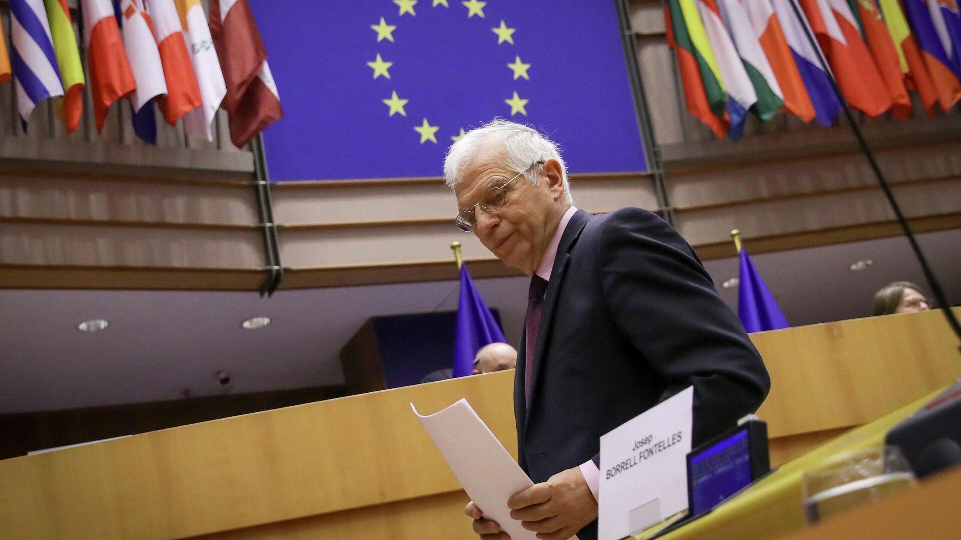 Верховный представитель Европейского союза по иностранным делам и политике безопасности Жозеп Боррель на заседании Европарламента в Брюсселе - РИА Новости, 1920, 21.06.2021