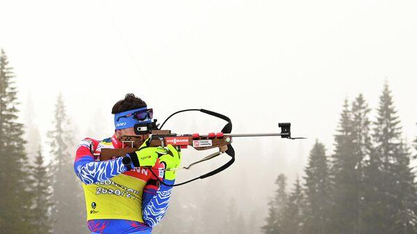 Александр Логинов (Россия) на тренировке перед началом соревнований на чемпионате мира по биатлону 2021 в словенской Поклюке.