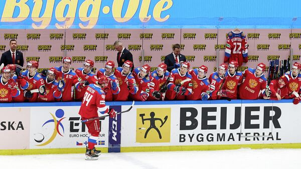 Ice Hockey - Beijer Hockey Games - Sweden v Russia - Malmo Arena, Malmo, Sweden - February 13, 2021 Russia's Vladimir Butuzov celebrates with teammates after scoring a penalty TT News Agency via REUTERS/Anders Bjuro/tt THIS IMAGE HAS BEEN SUPPLIED BY A THIRD PARTY. IT IS DISTRIBUTED, EXACTLY AS RECEIVED BY REUTERS, AS A SERVICE TO CLIENTS. SWEDEN OUT. NO COMMERCIAL OR EDITORIAL SALES IN SWEDEN..