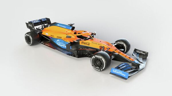 A handout photo released on February 15, 2021 by McLaren shows McLaren's new Formula 1 car MCL35M in Woking, southwest of London. (Photo by Handout / various sources / AFP) / RESTRICTED TO EDITORIAL USE - MANDATORY CREDIT AFP PHOTO /MCLAREN  - NO MARKETING - NO ADVERTISING CAMPAIGNS - DISTRIBUTED AS A SERVICE TO CLIENTS
