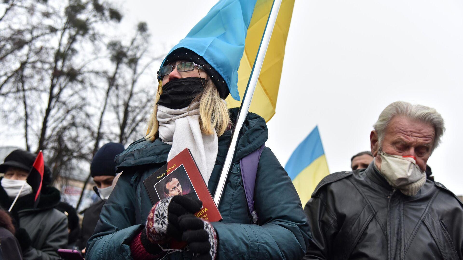 Участники митинга, приуроченного к 112 годовщине со дня рождения Степана Бандеры, во Львове - РИА Новости, 1920, 17.02.2021