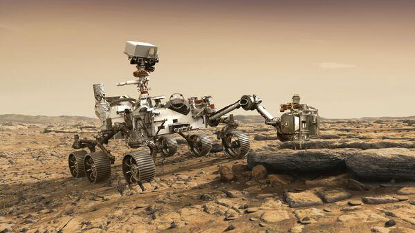 Художественное изображение марсохода Perseverance на поверхности Марса
