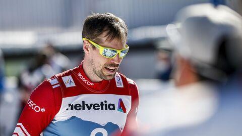 Сергей Устюгов после финиша спринта свободным стилем в финале соревнований по лыжным гонкам среди мужчин на чемпионате мира-2021 по лыжным видам спорта в немецком Оберстдорфе.