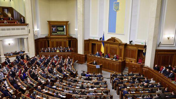 Президент Украины Владимир Зеленский выступает в Верховной Раде