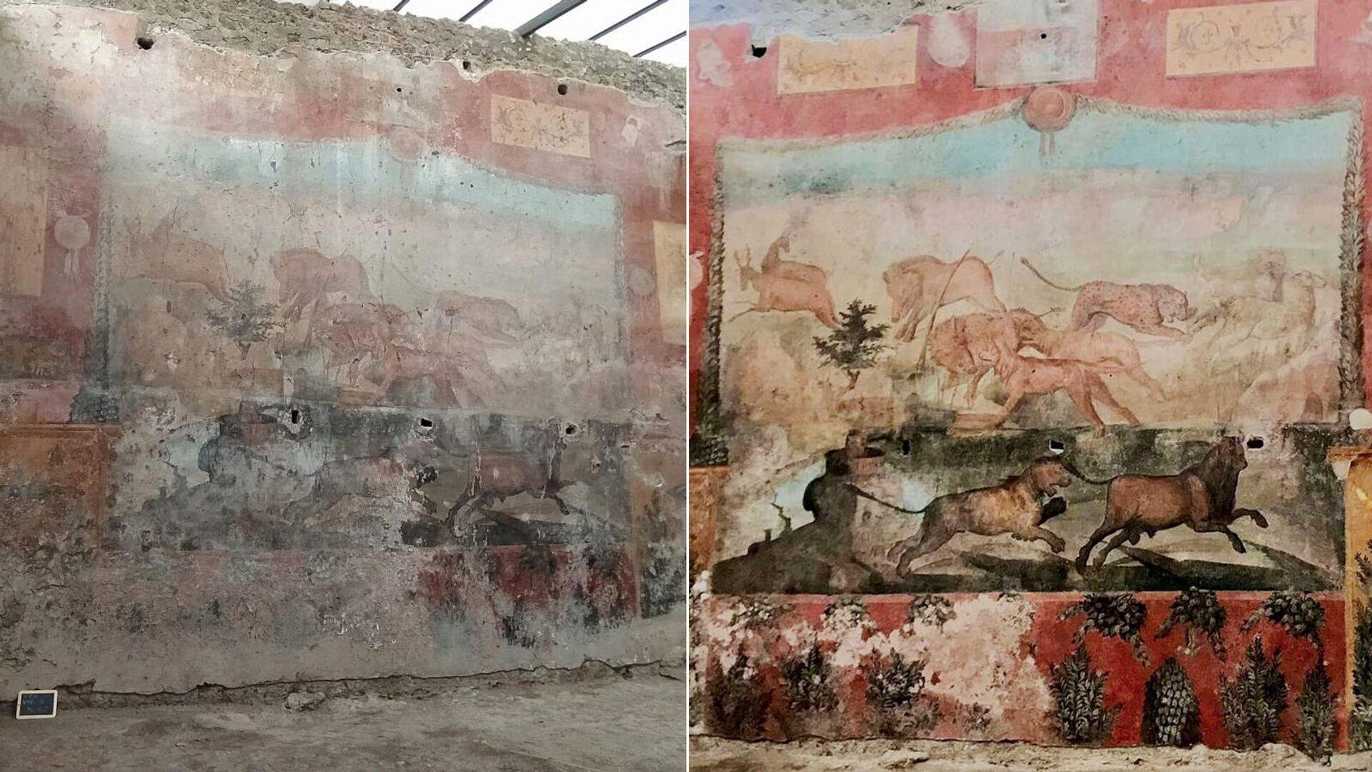 Большая фреска сада Дома Цеи в Помпеях до и после реставрации - РИА Новости, 1920, 01.03.2021